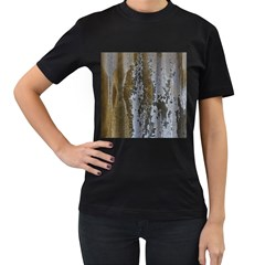 Grunge Rust Old Wall Metal Texture Women s T Shirt (black) (two Sided) by Amaryn4rt