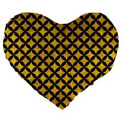 Circles3 Black Marble & Yellow Marble (r) Large 19  Premium Flano Heart Shape Cushion by trendistuff