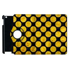 Circles2 Black Marble & Yellow Marble Apple Ipad 2 Flip 360 Case by trendistuff