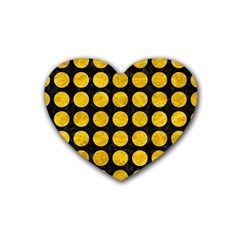 Circles1 Black Marble & Yellow Marble Rubber Coaster (heart) by trendistuff