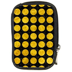 Circles1 Black Marble & Yellow Marble Compact Camera Leather Case by trendistuff
