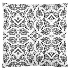 Mandala Line Art Black And White Large Flano Cushion Case (two Sides) by Amaryn4rt