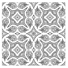 Mandala Line Art Black And White Large Satin Scarf (square) by Amaryn4rt