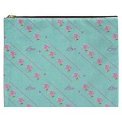 Love Flower Blue Background Texture Cosmetic Bag (xxxl)  by Amaryn4rt