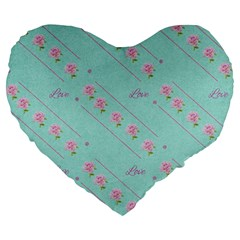 Love Flower Blue Background Texture Large 19  Premium Flano Heart Shape Cushions by Amaryn4rt