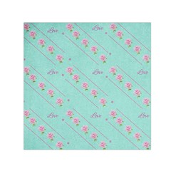 Love Flower Blue Background Texture Small Satin Scarf (square) by Amaryn4rt