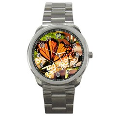 Monarch Butterfly Nature Orange Sport Metal Watch by Amaryn4rt