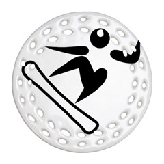 Snowboarding Pictogram  Round Filigree Ornament (two Sides) by abbeyz71