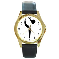 Artistic Roller Skating Pictogram Round Gold Metal Watch by abbeyz71