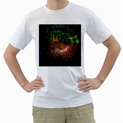 Radar Kaleidoscope Pattern Men s T Shirt (white)