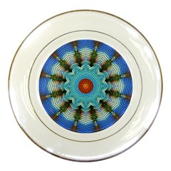 Pattern Blue Brown Background Porcelain Plates by Amaryn4rt