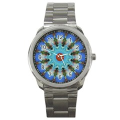 Pattern Blue Brown Background Sport Metal Watch by Amaryn4rt