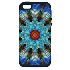 Pattern Blue Brown Background Apple Iphone 5 Hardshell Case (pc+silicone)