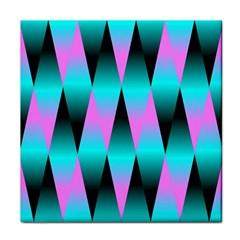 Shiny Decorative Geometric Aqua Tile Coasters by Amaryn4rt
