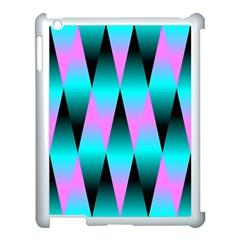 Shiny Decorative Geometric Aqua Apple Ipad 3/4 Case (white) by Amaryn4rt
