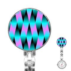 Shiny Decorative Geometric Aqua Stainless Steel Nurses Watch by Amaryn4rt