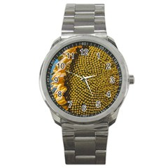 Sunflower Bright Close Up Color Disk Florets Sport Metal Watch by Amaryn4rt