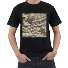 Rock Texture Background Stone Men s T Shirt (black) (two Sided)
