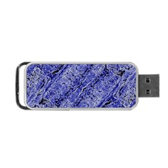 Texture Blue Neon Brick Diagonal Portable Usb Flash (one Side)