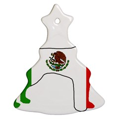 Chihuahua Mexico Flag Silhouette Christmas Tree Ornament (Two Sides) by TailWags