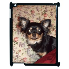Long Haired Chihuahua In Bed Apple iPad 2 Case (Black) by TailWags
