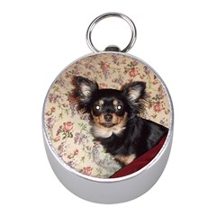 Long Haired Chihuahua In Bed Mini Silver Compasses by TailWags
