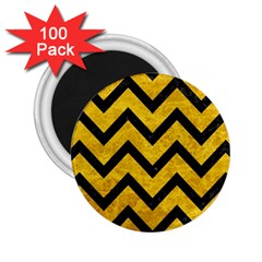 Chevron9 Black Marble & Yellow Marble (r) 2 25  Magnet (100 Pack)  by trendistuff
