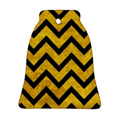 Chevron9 Black Marble & Yellow Marble (r) Bell Ornament (two Sides) by trendistuff