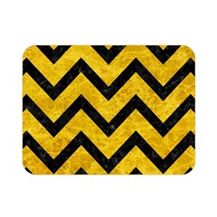 Chevron9 Black Marble & Yellow Marble (r) Double Sided Flano Blanket (mini) by trendistuff