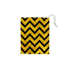 Chevron9 Black Marble & Yellow Marble (r) Drawstring Pouch (xs) by trendistuff