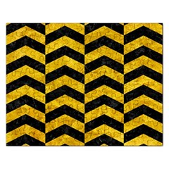 Chevron2 Black Marble & Yellow Marble Jigsaw Puzzle (rectangular) by trendistuff