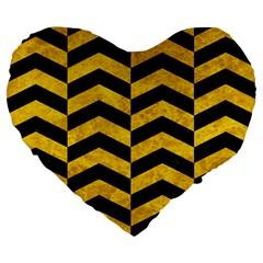 Chevron2 Black Marble & Yellow Marble Large 19  Premium Flano Heart Shape Cushion by trendistuff