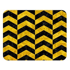 Chevron2 Black Marble & Yellow Marble Double Sided Flano Blanket (large) by trendistuff