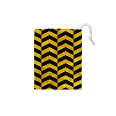 Chevron2 Black Marble & Yellow Marble Drawstring Pouch (xs) by trendistuff