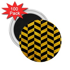 Chevron1 Black Marble & Yellow Marble 2 25  Magnet (100 Pack)  by trendistuff