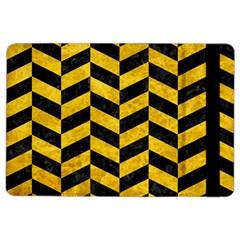 Chevron1 Black Marble & Yellow Marble Apple Ipad Air 2 Flip Case by trendistuff