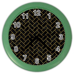 Brick2 Black Marble & Yellow Marble Color Wall Clock by trendistuff