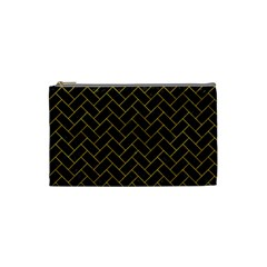 Brick2 Black Marble & Yellow Marble Cosmetic Bag (small) by trendistuff