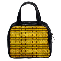Brick1 Black Marble & Yellow Marble (r) Classic Handbag (two Sides) by trendistuff
