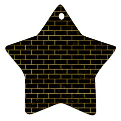Brick1 Black Marble & Yellow Marble Star Ornament (two Sides) by trendistuff