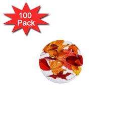 Autumn Leaves Leaf Transparent 1  Mini Buttons (100 Pack)