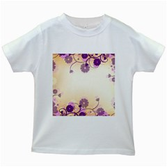 Background Floral Background Kids White T Shirts
