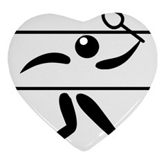 Badminton Pictogram Heart Ornament (Two Sides) by abbeyz71