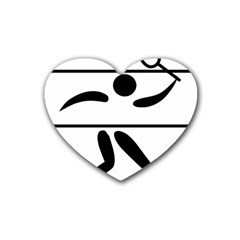 Badminton Pictogram Heart Coaster (4 Pack)  by abbeyz71