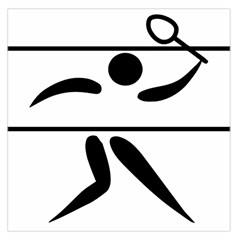 Badminton Pictogram Large Satin Scarf (Square) by abbeyz71