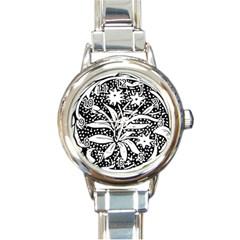 Decoration Pattern Design Flower Round Italian Charm Watch by Amaryn4rt