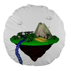 Low Poly 3d Render Polygon Large 18  Premium Flano Round Cushions by Amaryn4rt