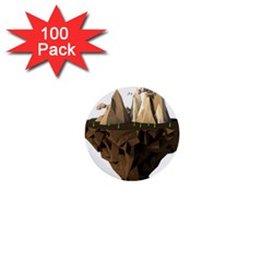 Low Poly Floating Island 3d Render 1  Mini Buttons (100 Pack)