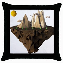 Low Poly Floating Island 3d Render Throw Pillow Case (black) by Amaryn4rt