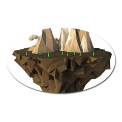 Low Poly Floating Island 3d Render Oval Magnet
